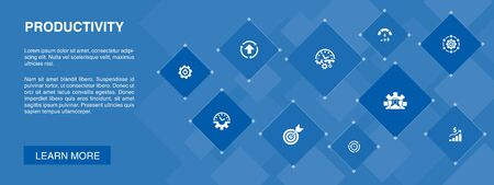 Productivity banner 10 icons concept.performance, goal, system, process simple icons