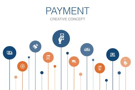 payment Infographic 10 steps circle design. Invoice, money, bill, discount icons Stockfoto - 130459032