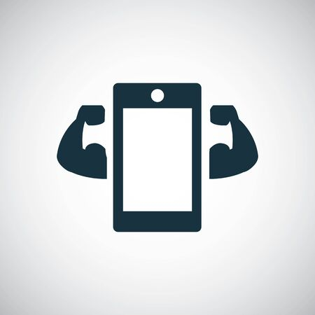 smartphone strong icon for web and UI on white background Standard-Bild - 130459038