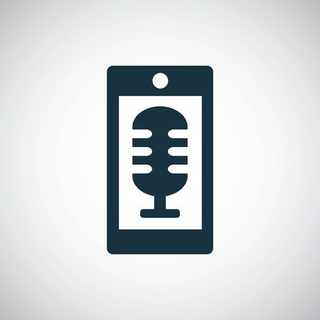 smartphone microphone icon for web and UI on white background Ilustração