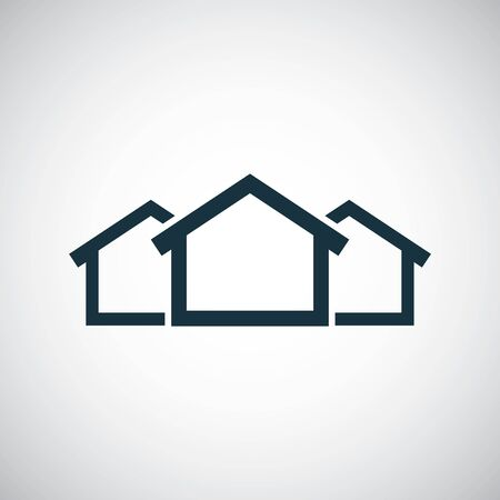 3 houses icon for web and UI on white background
