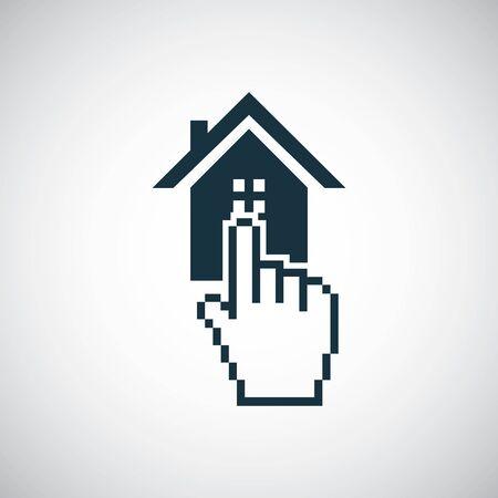 Inicio seleccione el icono del dedo para la web y la interfaz de usuario sobre fondo blanco Ilustración de vector