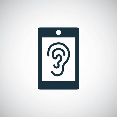 smartphone ear icon for web and UI on white background