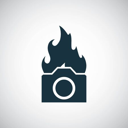 camera flame icon for web and UI on white background Иллюстрация