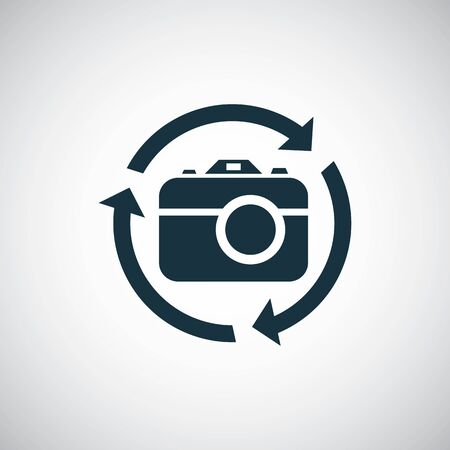 photo camera arrow icon for web and UI on white background