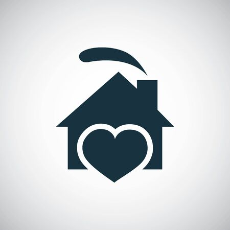 home heart icon for web and UI on white background