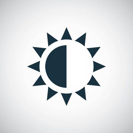 icono de contraste de brillo para web y interfaz de usuario sobre fondo blanco