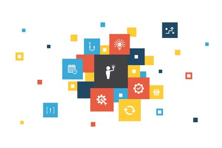 Solution Infographic 10 steps pixel design.strategy, plan, execution, timetable icons