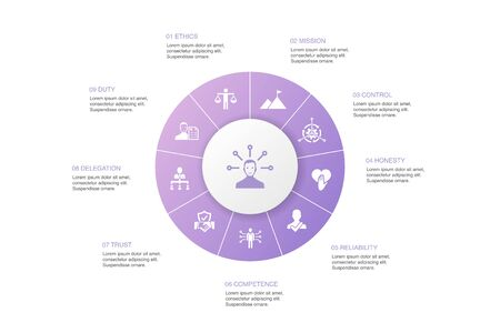 responsibility Infographic 10 steps circle design.delegation, honesty, reliability Illustration