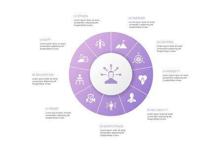 responsibility Infographic 10 steps circle design.delegation, honesty, reliability Illustration