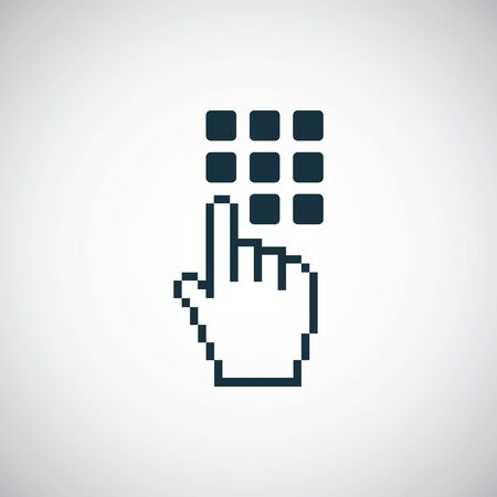 The hand press the button icon. for web and UI on white background