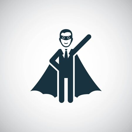 superhero businessman icon for web and UI on white background Illustration