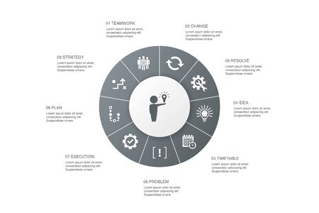 Solution Infographic 10 steps circle design.strategy, plan, execution, timetable icons Stock Illustratie