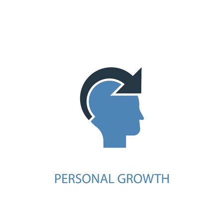 personal growth concept 2 colored icon. Simple blue element illustration. personal growth concept symbol design. Can be used for web and mobile UI
