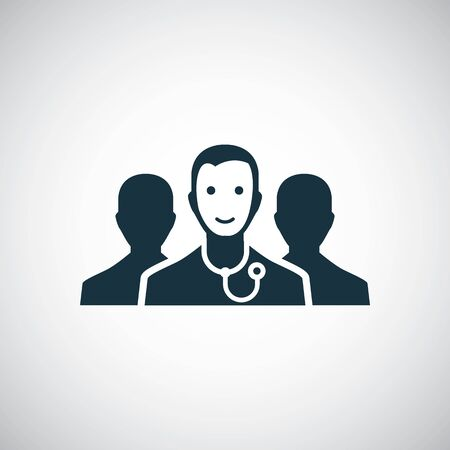 doctor team icon, on white background.
