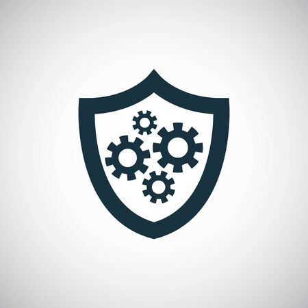 shield gear icon for web and UI on white background
