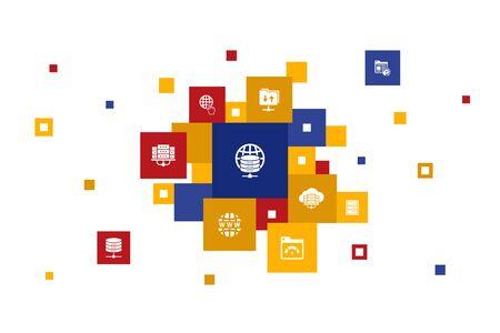 web hosting Infographic 10 steps pixel design.Domain Name, Bandwidth, Database, internet icons