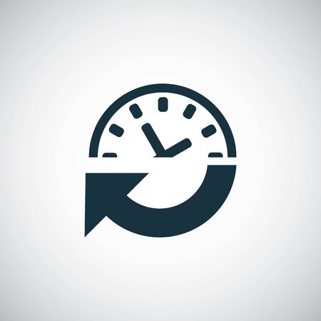 time arrow watch icon for web and UI on white background