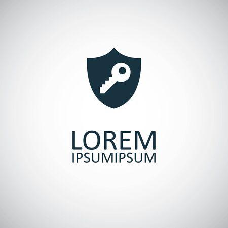 shield key icon for web and UI on white background Illustration