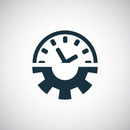 time setting gear watch icon for web and UI on white background