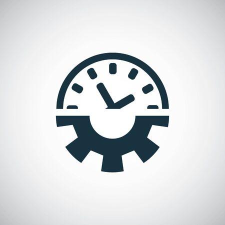Zeiteinstellung Zahnraduhr-Symbol für Web und Benutzeroberfläche auf weißem Hintergrund