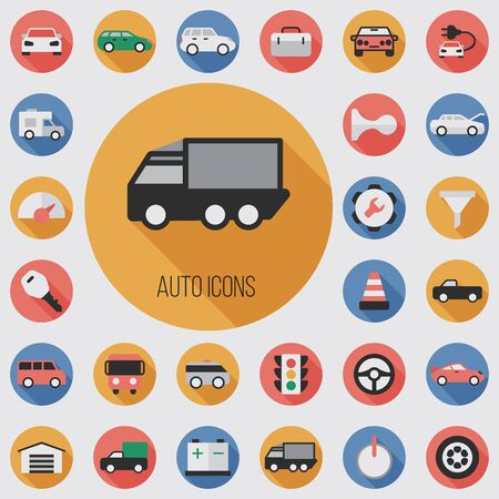auto flat, digital icon set with long shadow effect for web and mobile. Ilustrace