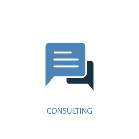 Consulting concept 2 colored icon. Simple blue element illustration. Consulting concept symbol design. Can be used for web and mobile UI Çizim