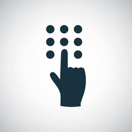 The hand press the button icon, on white background.  イラスト・ベクター素材