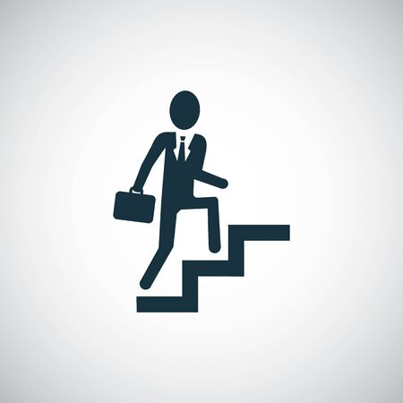 Businessman climbing stairs icon for web and UI on white background