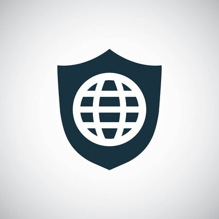 globe shield icon for web and UI on white background