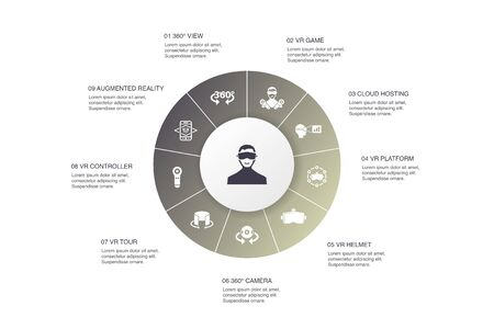 virtual reality Infographic 10 steps circle design.VR helmet, Augmented reality, 360 view, VR controller icons