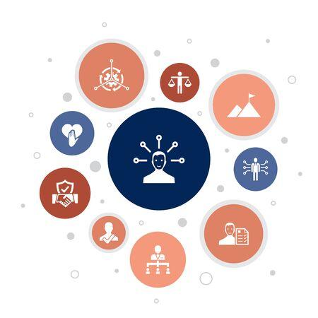 responsibility Infographic 10 steps bubble design.delegation, honesty, reliability, trust icons Illustration