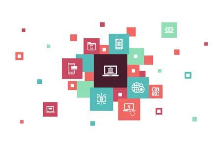 online banking Infographic 10 steps pixel design.funds transfer, mobile banking, online transaction, digital money icons