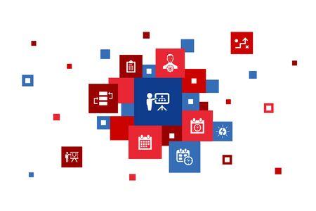 planning Infographic 10 steps pixel design.calendar, schedule, timetable, Action Plan icons Illusztráció