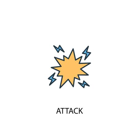 attack concept 2 colored line icon. Simple yellow and blue element illustration. attack concept outline symbol Çizim