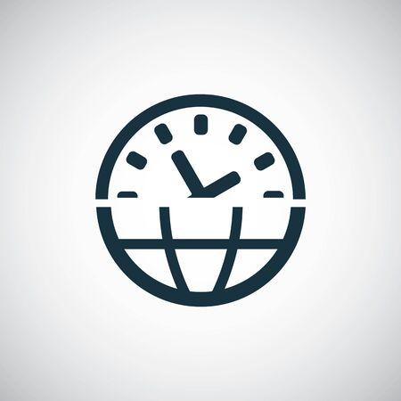 time globe icon for web and UI on white background Ilustracja