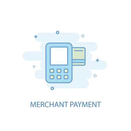Merchant payment line concept. Simple line icon, colored illustration. Merchant payment symbol flat design. Can be used for UI