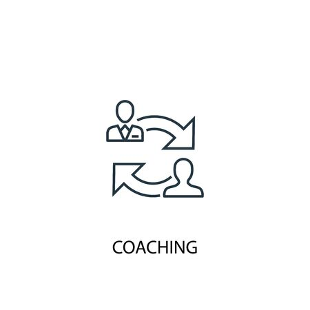 coaching concept line icon. Simple element illustration. coaching concept outline symbol design. Can be used for web and mobile Çizim