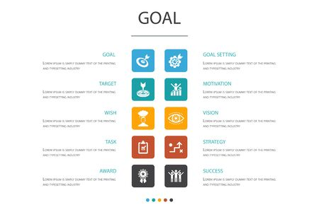 goal Infographic 10 option template.target, wish, task, goal setting simple icons