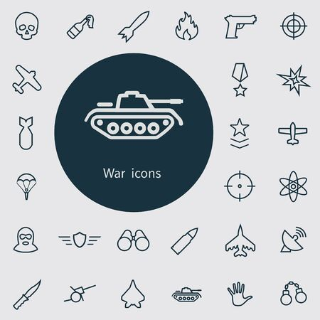 war outline, thin, flat, digital icon set for web and mobile.