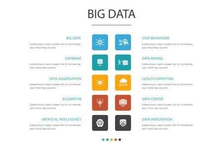 Big data Infographic 10 option concept.Database, Artificial intelligence, User behavior, Data center simple icons