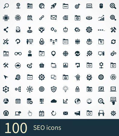 seo 100 iconos universales para web y UI.