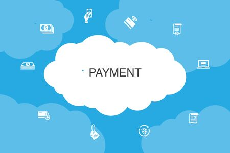 payment Infographic cloud design template. Invoice, money, bill, discount icons Ilustracja