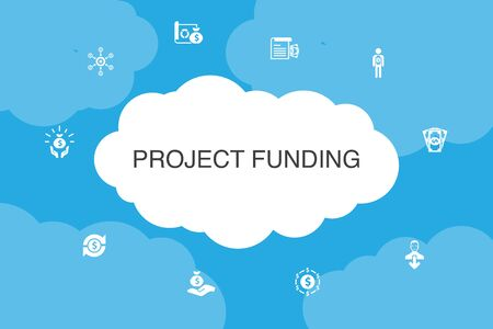 project funding Infographic cloud design template. crowdfunding, grant, fundraising, contribution icons