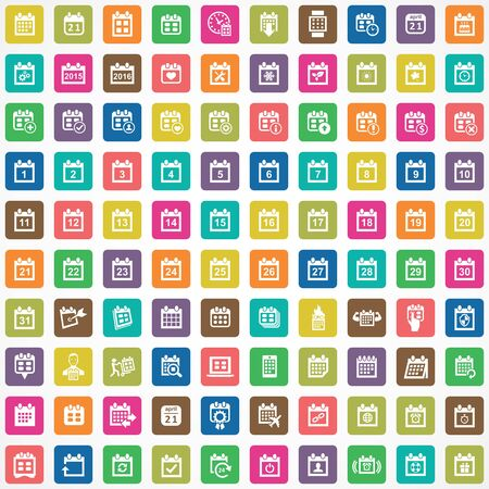 calendar 100 icons universal set for web and UI.  イラスト・ベクター素材