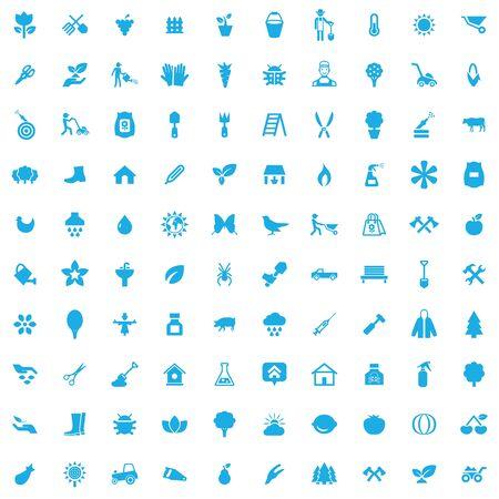 gardening 100 icons universal set for web and UI. Çizim