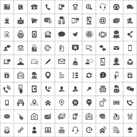 contact us 100 icons universal set for web and mobile. 版權商用圖片 - 130601679