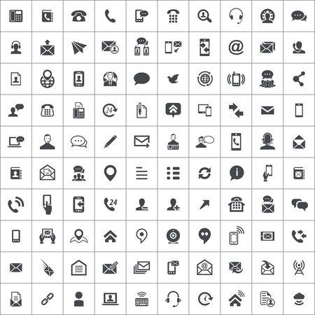 Kontaktieren Sie uns 100 Icons Universal Set für Web und Mobile. Vektorgrafik