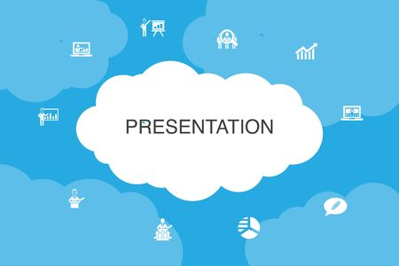 presentation Infographic cloud design template. lecturer, topic, business presentation, diagram icons
