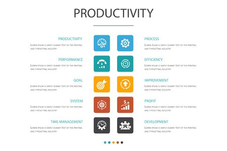 Productivity Infographic 10 option concept. performance, goal, system, process icons